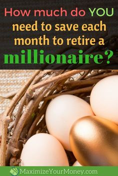 Want to retire a millionaire? Here's how much you need to save (and invest) each month broken down by age. We've also included some tips to help reach the goal. #retirement #wealth #budgeting via @maximizemoney