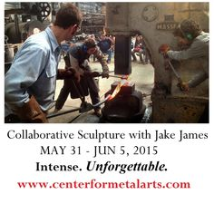 Collaborative Sculpture with Jake James is a six-day high intensity workshop experience for seasoned beginners and higher in blacksmithing. Work with a team to build a large sculptural piece. Break into small forging teams and then collaborate to bring the elements together. About an hour NW of NYC. Check out Jake James here: https://youtu.be/iBE-UumAaBw and sign up for class here: http://www.centerformetalarts.com/blacksmithing-workshops.html