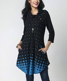 Loving this Black & Blue Dot Shawl Collar Button-Accent Tunic on #zulily! #zulilyfinds