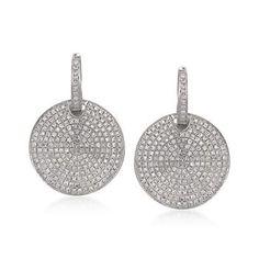 T W Pave Diamond Disc Earrings In 14kt White Gold Gt