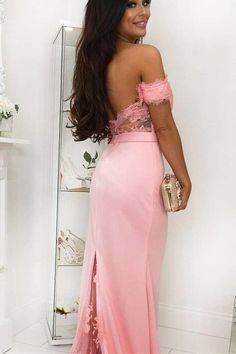gorgeous mermaid pink long prom dress with train and off the shoulder Prom Dresses Long Pink, Senior Prom Dresses, Elegant Prom Dresses, Hoco Dresses, Cheap Prom Dresses, Formal Evening Dresses, Graduation Dresses, Pink Dress, Bridesmaid Dresses Under 100