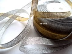 1 x 25 yard Roll Pretty Sparkle Organza Ribbon 10mm Wide Gold or Silver - Only 99p