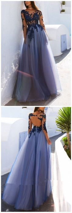 Open Back See Through Blue Lace Long Sleeve Long Prom Dress