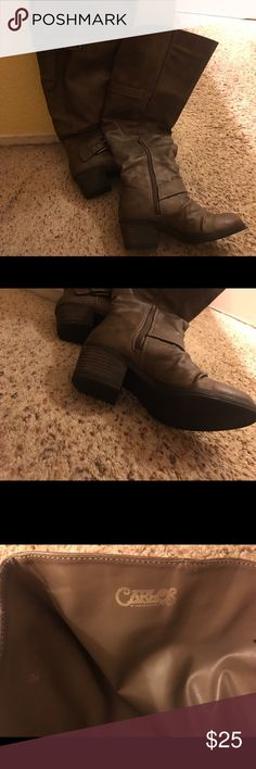 Boots Carlos Santana boots, brown/taupe color knee high super cute bought two pairs thinking one was gray as described and it brown! Carlos Santana Shoes Ankle Boots & Booties