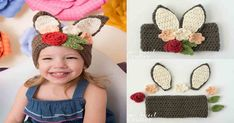 Free tutorial >> DIY Crochet Floral Bunny Headband