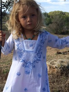 Kids kaftan white with blue hand embroidery neemrana  by AUROBELLE