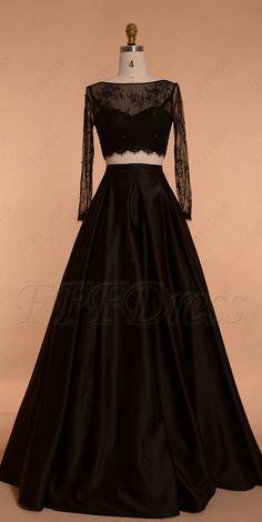 Black ball gown two piece prom dresses long sleeves Indian Prom Dresses, Cute Prom Dresses, Prom Dresses Long With Sleeves, Black Prom Dresses, Pretty Dresses, Beautiful Dresses, Black Ball Gowns, Halloween Wedding Dresses, Stylish Dresses For Girls