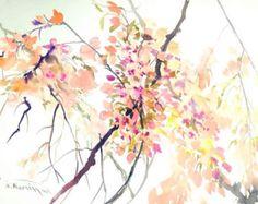 Acuarela de Sakura blossom pintura grande 24 X 18 en la pintura de tinta japonés flor de cerezo rosa pared arte