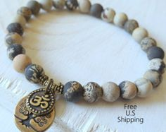 China pintura jaspe, brazalete, árbol de la vida, de sanación Om pulsera, Yoga…
