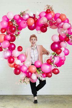 décoration ou surprise Saint Valentin- coeur en ballons roses #ideas #saintvalentin #valentinday #gifts