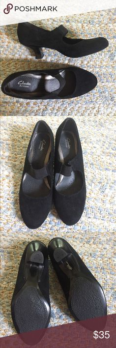 Black Suede Clarks Mary Jane Heels Black suede Mary Jane Clarks heels in excellent condition. Hardly worn - heels and bottoms look wonderful. Strap over top of foot is stretchy. Clarks Shoes Heels