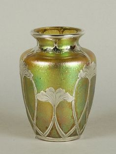 Loetz Candia Papillon Art Nouveau vase with applied silver decoration, early 20th century. First of two photos.