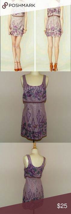 Free people floral Aztec purple dress In used condition  but very cute! Says size 0 but would fit a 2 much better so it is listed as so Free people dress, was originally 128$ Feel free to ask questions! Free People Dresses