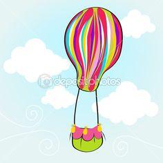 los dibujos mas lindos con globos volando en el cielo - Buscar con Google