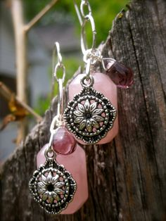 Rose Quartz Earrings - Handmade