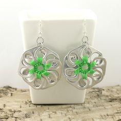 pop top flower earrings  pair  crochet light green by tabsolute, $10.00