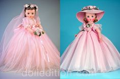 """Pink """"Elise"""" 1959 Bride No. 1835 - Pink """"Elise"""" 1959 Bridesmaid No. Madame Alexander Dolls, New Fashion Trends, How Train Your Dragon, Fashion Dolls, American Girl, Tulle, Flower Girl Dresses, Bridesmaid, Gowns"""