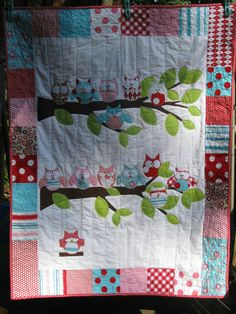 My own design of many owls on tree branches in Riley Blake fabrics