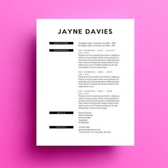 The Jayne resume template comes complete with a free cover letter. It is available by instant download in a .docx file so you can easily edit