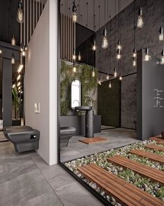 A modern designed bathroom at its finest 👌😍. This spaceous design has huge stone tiles, giving it a clean look. I love the hanging bulbs, like if you're in a magical place. How do you like this master bathroom? Loft Interior, Showroom Interior Design, Bathroom Interior Design, Modern Interior Design, Luxury Interior, Interior Decorating, Amazing Architecture, Architecture Design, Contemporary Architecture