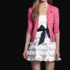 dotted navy on white dress and pink sweater- a&f: summer come soon!