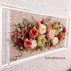 Crepe Paper Flowers Tutorial, Paper Flowers Diy, Picture Frame Wreath, Ribbon Embroidery Tutorial, Flower Wall Decor, Rose Art, Handmade Decorations, Easy Crafts, Flower Arrangements