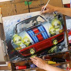 """Martini Porsche"" Acrylic on raw aluminum by Chris Dunlop   Pinstripe Chris"