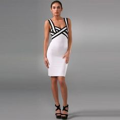 Herve Leger Colorblock Sweetheart Bandage Dress White