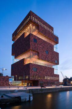Museum aan de Stroom in Antwerp, Belgium. By Neutelings Riedijk Architects. Completed in 2011.