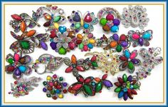 12 Pc MULTI COLOR Vintage Style Lot Brooches Pins Wedding Bouquet