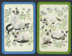 #950.234 vintage swap card -MINT pair- Siamese cats with green & blue borders