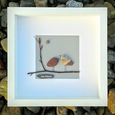 Handmade Irish Art, a unique piece of pebble art, 'Our Branch'