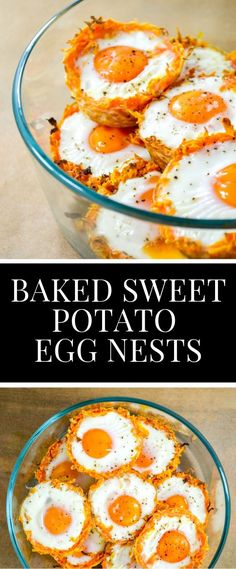 Healthy Meals Shredded Sweet Potato Egg Nests - shredded sweet potato baked into little cups then baked with eggs makes the perfect meal prepped healthy breakfast! Healthy Meal Prep, Healthy Breakfast Recipes, Brunch Recipes, Healthy Recipes, Breakfast Ideas, Healthy Breakfast Potatoes, Sweet Potato Recipes Healthy, Breakfast Cups, Breakfast Casserole
