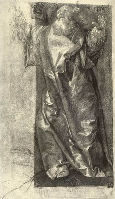 Matthias Grünewald, c.1475-1528, German, Moses (?), c.1511.  Black chalk, heightened with white, gray watercolour, 24 x 16 cm. Staatliche Museen, Berlin.  Northern Renaissance.