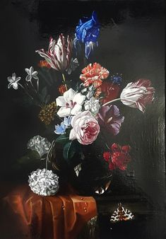 Netherlandish School, century Floral Still Life with Tulips, Iris, Roses, Hydrangeas and a Butterfly Oil on canvas (relined). x cm. Iris, 17th Century, Still Life, Oil On Canvas, Butterfly, Painting, Dutch, Hydrangeas, Design