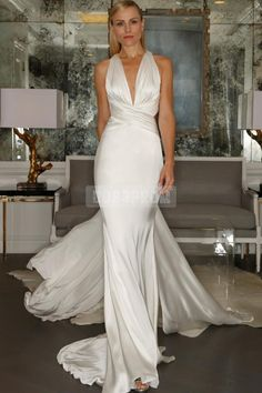 Simple Plunging Mermaid Criss-cross Back Wedding Dress - Cobbprom.com