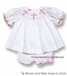 0eab24f8a36 Claire   Charlie Baby   Toddler Girls White Pique Smocked Pink Crosses  Bloomers Set Family Outfits