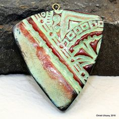 polymer clay faux ceramic pendants | by cabinfeverclay More
