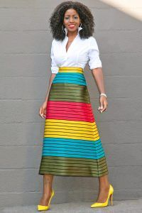 Button Down Shirt + Striped Color Block Midi Skirt (Style Pantry) Moda Outfits, Skirt Outfits, Dress Skirt, Midi Skirt, Fashion Moda, Work Fashion, Modest Fashion, Fashion Dresses, Business Mode