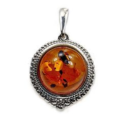 'Soothing Glow' Sterling Silver Natural Baltic Amber Pendant