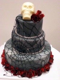 Spooky red rose, spiderwebs and skull topped three-tiered cake