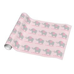 Pink Elephant Personalized Wrapping Paper