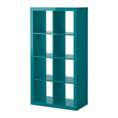 IKEA Fan Favorite: EXPEDIT shelving unit. Place this high-gloss unit vertically or horizontally to use it as a shelf or sideboard. And, the turquoise color will bring a bright pop of color to any room!