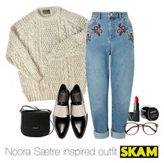 """""""Noora Sætre inspired outfit/SKAM"""" by tvdsarahmichele ❤ liked on Polyvore featuring Miss Selfridge, Givenchy, Lancaster, NARS Cosmetics and NYX"""