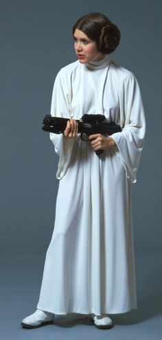 Carrie Fisher as Princess Leia in a production picture from Star Wars