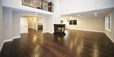 dark wood floors in huge room with complementary paint color.