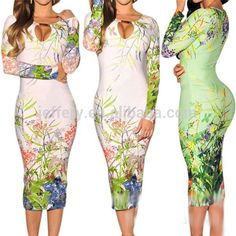 New hollow out bodycon dress adult evening dress vintage print long sleeve womens clothing summer 2015 with metal button A842