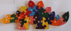 Wooden Dinosaur Alphabetic ABC Childrens Jigsaw Puzzle by EcofriendlyBee… Wooden Jigsaw, Scroll Saw, Jigsaw Puzzles, Amazon, Art, Wooden Figurines, Toys, Art Background, Amazons