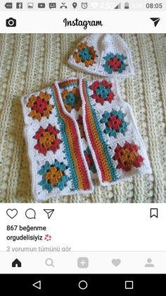 Children's vest and beanie design idea ? Children's vest and beanie design idea Débardeurs Au Crochet, Diy Crochet And Knitting, Crochet Toddler, Crochet Coat, Crochet Jacket, Crochet For Boys, Hand Crochet, Crochet Girls Dress Pattern, Boy Crochet Patterns