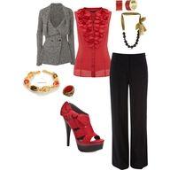 black pants, red, white, gray jacket